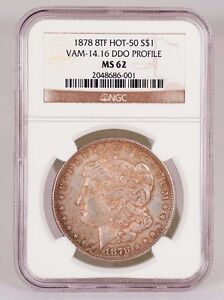 Click now to see the BUY IT NOW Price! 1878 8 TAIL FEATHERS MORGAN SILVER DOLLAR VAM 14.16 DDO PROFILE NGC MS 62