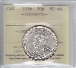 Click now to see the BUY IT NOW Price! 1936 CANADA FIFTY CENTS KEY DATE ICCS MS 64   WHITE
