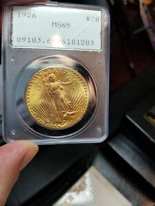 1926 ST GAUDENS $20 PCGS OGH CERTIFIED MS65 65 GRADED GREEN LABEL US GOLD COIN
