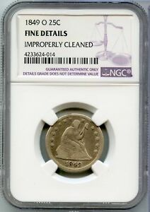 1849 O LIBERTY SEATED QUARTER 25C COIN NGC FINE DETAILS CERTIFIED   JX569