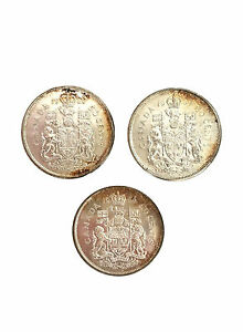 Click now to see the BUY IT NOW Price! 3 CANADIAN QUEEN ELIZABETH II 50 CENTS COINS LOT 1964 1964 & 1966 SILVER UNCLEAN