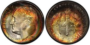 Click now to see the BUY IT NOW Price! 1951 S PCGS MS68 HIGH GRADE TONED ROOSEVELT DIME 10C EXCELLENT EXAMPLE TOP POP