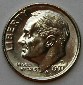 1997 D ROOSEVELT DIME CHOICE BU IN MINT CELLO US COIN