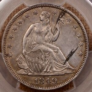 1849 WB 6 DOUBLE DATE SEATED HALF PCGS AU DET STUNNING     DAVIDKAHNCOINS