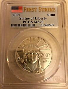 Click now to see the BUY IT NOW Price! 2007 1 OZ $100 PLATINUM AMERICAN EAGLE MS 70 PCGS  FIRST STRIKE 11240692