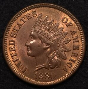 Click now to see the BUY IT NOW Price! 1880 INDIAN HEAD CENT PENNY UNC BU RB RED BROWN   MAKE AN OFFER
