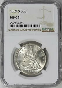 1859 S SEATED LIBERTY HALF SILVER DOLLAR 50C PIECE. NGC MS64 WOW