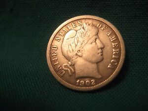 1902 O BARBER 90  SILVER 10C FULL LIBERTY TOUGHER DATE VF DETAILS 235