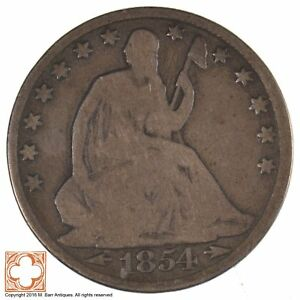 1854 O SEATED LIBERTY HALF DOLLAR WITH ARROWS AT DATE  J22