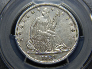 1839 50C SEATED LIBERTY HALF DOLLAR WITH DRAPERY AU 55 PCGS HARD TO FIND  NICE