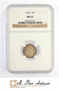 MS63 1908 BARBER SILVER DIME   GRADED NGC  SC66