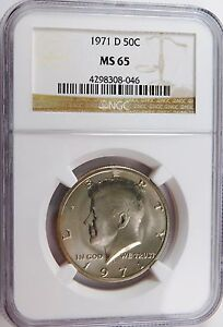 1971 D KENNEDY HALF DOLLAR NGC MS65 50C BLAST WHITE NICE SATIN LOOK