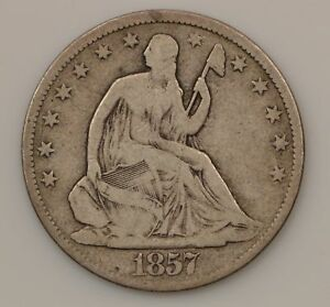 1857 P SEATED LIBERTY SILVER HALF DOLLAR  G32