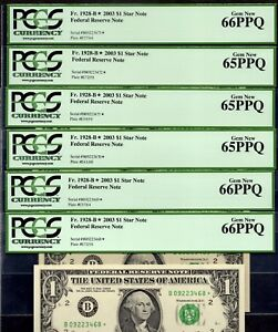 6  CONSECUTIVE FR 1928 B  2003 $1 NEW YORK STAR NOTE FEDERAL RESERVE PCGS 66PPQ