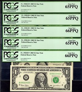 5  CONSECUTIVE FR 1928 B  2003 $1 NEW YORK STAR NOTE FEDERAL RESERVE PCGS 66PPQ