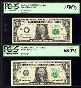 2  FR. 1933 J  2006 $1 FW STAR NOTE FEDERAL RESERVE PCGS 65PPQ J02833808