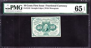 US 10C FRACTIONAL CURRENCY 1ST ISSUE W/