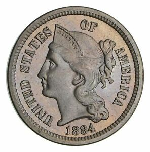 1884 THREE CENT PIECE   COPPER NICKEL  NOT CIRCULATED  2786
