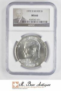 1972 S EISENHOWER IKE DOLLAR   SILVER   UNCIRCULATED NGC GRADED MS66  5111