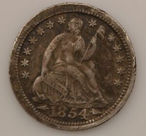 1854 LIBERTY SEATED HALF DIME ARROWS AT DATE  G54