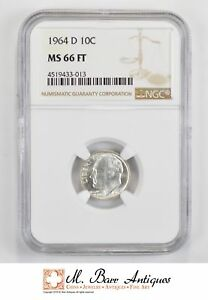 1964 D ROOSEVELT SILVER DIME   TONED   NGC GRADED MS66 FT  1420