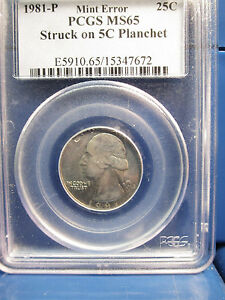 Click now to see the BUY IT NOW Price! 1981 P 25C QUARTER PCGS MS65 MINT ERROR STRUCK ON 5C NICKEL PLANCHET