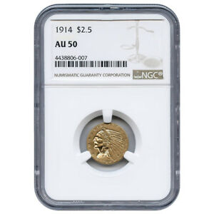 CERTIFIED US GOLD $2.5 INDIAN 1914 AU50 NGC