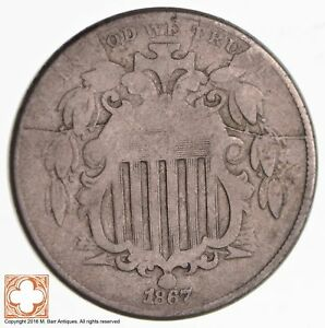 1867 SHIELD NICKEL   WITHOUT RAYS A MASS OF CRACKS  2632
