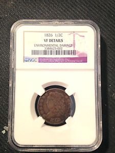 1826 HALF CENT NGC VF REVERSE ROTATED RIGHT   OVER 45  DEGREES