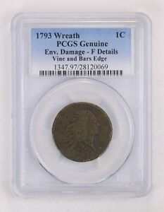 GENUINE 1793 WREATH FLOWING HAIR LARGE CENT   PCGS GRADED  2161