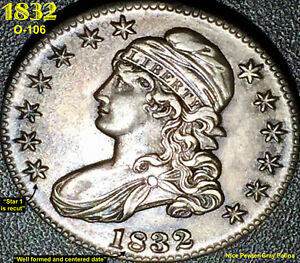 1832 CAPPED BUST HALF DOLLAR   SMALL LETTERS  O 106    HIGH GRADE