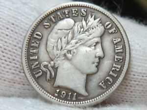1911 SILVER BARBER DIME AND