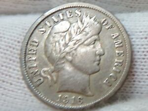 1916 SILVER BARBER DIME AND