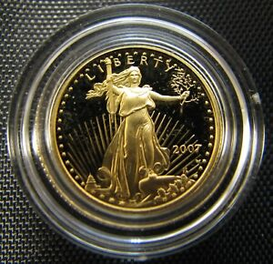 2007 W $5 GOLD AMERICAN EAGLE GEM PROOF 1/10 OZ GOLD COIN WITH BOX AND COA