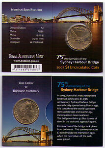 2007 DOLLAR RAM $1 UNC COIN B MINTMARK   75TH ANNIV. SYDNEY HARBOUR BRIDGE