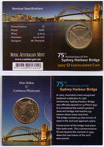 2007 DOLLAR RAM $1 UNC COIN C MINTMARK   75TH ANNIV. SYDNEY HARBOUR BRIDGE