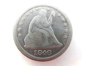 1846 SEATED LIBERTY QUARTER DOLLAR US 90  SILVER  F32