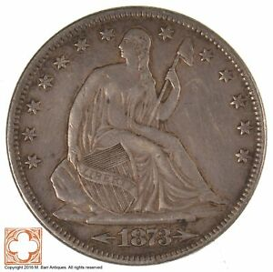 1873 SEATED LIBERTY HALF DOLLAR WITH ARROWS AT DATE  J18