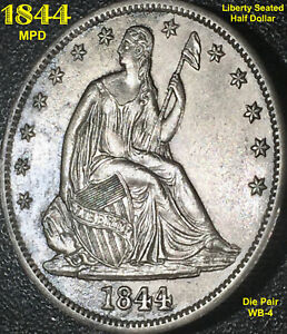 1844 LIBERTY SEATED HALF DOLLAR   MPD  WB 4  WITH REVERSE DIE CUD