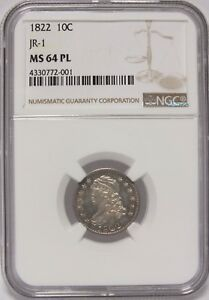 Click now to see the BUY IT NOW Price! 1822 CAPPED BUST DIME JR 1 NGC MS 64 PL CERTIFIED   PROOF LIKE COIN   JY020