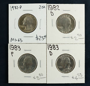 1982 P/D 1983 P/D WASHINGTON QUARTER 25C GEM BU BRILLIANT UNCIRC 4 COIN SET