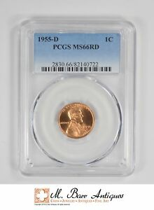 MS66RD 1955 D LINCOLN WHEAT CENT   GRADED PCGS  3364