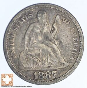 1887 SEATED LIBERTY SILVER DIME  XB01