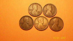 LOT OF  5  1915 D 1C LINCOLN WHEAT CENT PENNIES  SEE PHOTOS