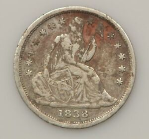 1838 SEATED LIBERTY  NO DRAPERY LARGE STARS  SILVER HALF DIME  G42
