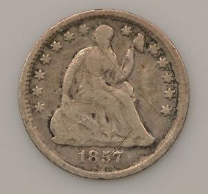 1857 SEATED LIBERTY SILVER HALF DIME  G53