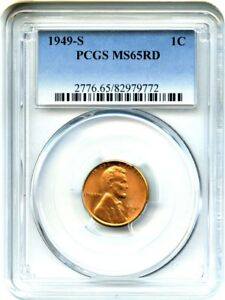 1949 S 1C PCGS MS65 RD   LINCOLN CENT