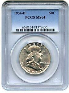 1954 D 50C PCGS MS64   FRANKLIN HALF DOLLAR