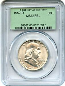 1952 D 50C PCGS MS65 FBL  RETRO OGH  PCGS 30TH ANNIVERSARY HOLDER
