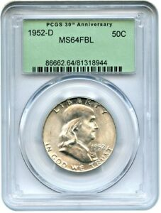 1952 D 50C PCGS MS64 FBL  RETRO OGH    FRANKLIN HALF DOLLAR
